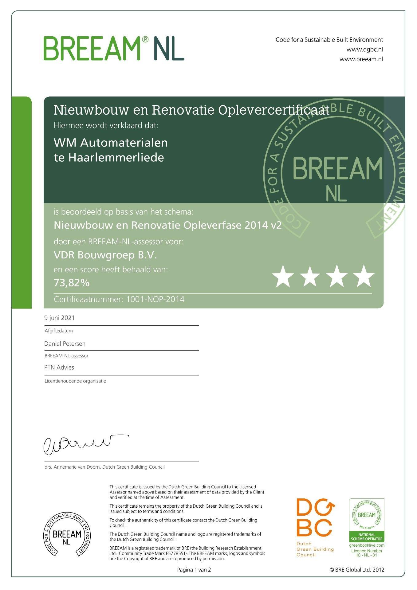 BREEAM Excellent Certificaat
